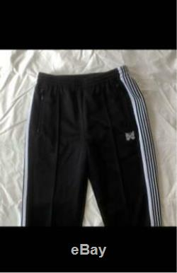 NEEDLES Track Pants Poly Smooth FREAK'S Black White Size-S Used from Japan F/S