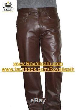 NEW 100% REAL LEATHER PANTS leder hosen pantalon fetish gay jeans bondage