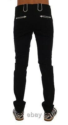 NEW $1000 DOLCE & GABBANA Pants Black Wool Cotton Dress Formal s. IT56 / W42