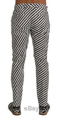 NEW $780 DOLCE & GABBANA Pants White Black Striped Cotton Slim Fit s. IT46 / W32