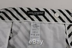 NEW $780 DOLCE & GABBANA Pants White Black Striped Cotton Slim Fit s. IT48 / W34