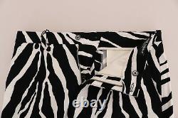 NEW $880 DOLCE & GABBANA Pants White Black Zebra Cotton Stretch Slim IT48 / W34