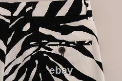 NEW $880 DOLCE & GABBANA Pants White Black Zebra Cotton Stretch Slim IT50 / W36