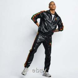 NEW Black Shiny Adidas Chile 62 Mens Rasta Tracksuit Sweat Pants Trousers sz S