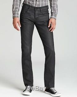 NEW Hudson Byron Fashion Men's Stylish Straight Slim Fit Blk Coated Pants Jeans