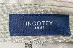 NEW INCOTEX $405 Wool x Cotton /Trousers/Pants/Plaid/Brown x Black EU50