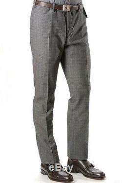 NEW INCOTEX $405 Wool x Cotton /Trousers/Pants/Plaid/Gray x Black EU54