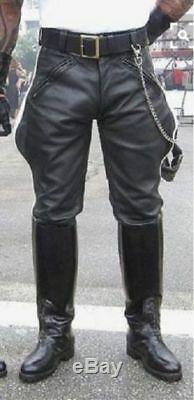NEW black leather pants motorcycle pant BREECHES leather trousers Gay black Kink