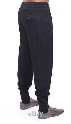 NWT $1400 DOLCE & GABBANA Black Cashmere Silk Casual Stretch Waist Pants s. M