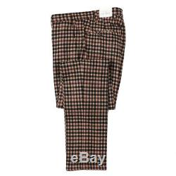 NWT $345 L. B. M. 1911 Tan and Black Check Soft Wool Dress Pants 32 (Eu 48)