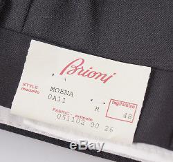 NWT $875 BRIONI'Moena' Solid Black Extrafine Wool Dress Pants 32 Modern-Fit