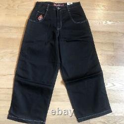 NWT JNCO Jeans Black Jeans Buddha Rave Baggy Pants Mens 34x30 Rare Vintage 90s
