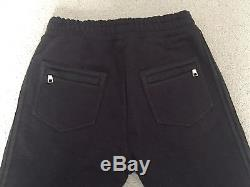 NWT Men's $2065 BALMAIN Leather & Cotton Joggers Pants -Sz. L- CURRENT SEASON