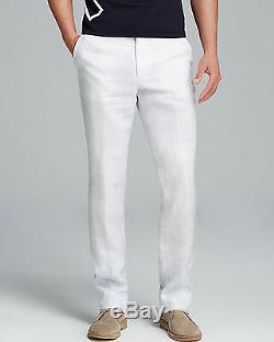 NWT RALPH LAUREN Black Label 30 X unhemmed white linen pants slacks mens beach