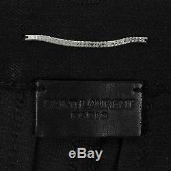 NWT SAINT LAURENT PARIS Black Cotton Blend Leather Jeans Pants Size 44/28 $1590