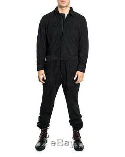 New $899 Sean John Collection Black Genuine Suede Zip Coverall Jumpsuit Size L