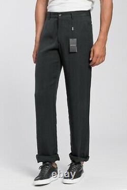 New 950$ GIORGIO ARMANI Black Label Gray Pant Trousers Cupro Nattè 34 US / 50 EU
