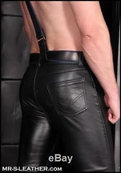 New Genuine Leather Pants Low Rise Five pockets Jeans Style Fitted Mens Fetish