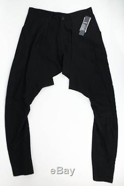 New JULIUS 7 Black'Slim Drop Crotch' Slim Fit Casual Pants Size 4/L $735