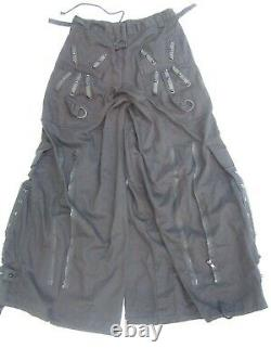 New Men's 3X 48 Vintage Tripp NYC Black Rubber Skulls Metal Spikes Pants Gothic