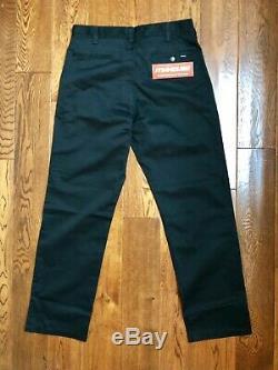New Supreme Work Pant Pants Black Cotton Twill Fall Winter 2019 FW19 Size 32