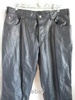 North Bound Leather 501-B black straight leg biker rock star jeans pants 38 34