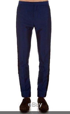 Nwt Burberry Prorsum Men Lace Trim Inc Blue Tuxedo Pants Sz 56eu / 46us Trousers
