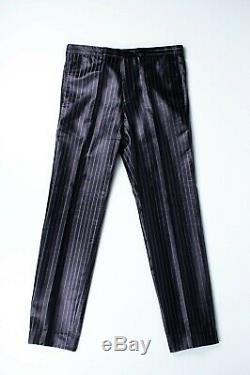 Original Dior Homme AW01 Slimane Striped Shinning Black Men Pants in size ITA 48