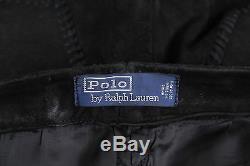 POLO Ralph Lauren Vintage Black Suede Leather Heavy Western Jeans Pants 33x30
