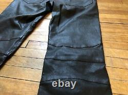 Pierre Balmain Black Lambskin Leather Multizippers Biker Pants Jeans 48 32 $2450