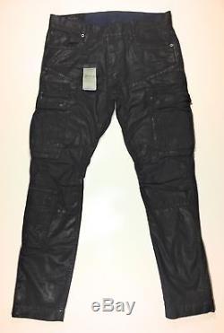 Polo Ralph Lauren Men Military Wax Coated Oilcloth Moto Biker Cargo Jeans Pants