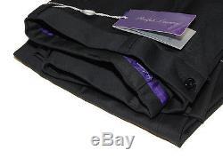 Polo Ralph Lauren Purple Label Mens Black Flat Dress Pants Wool Italy 34