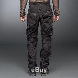 Queen Of Darkness Men's Black Studded Bondage Strap Pants Goth, Gothic, Dark, Alt