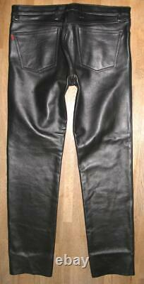 R&co Rob Men's Leather Jeans/Leather Pants With Po Zipper Black Approx. W37 /