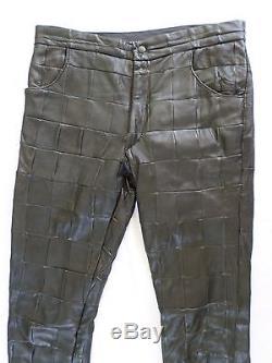 RAF SIMONS authentic black leather patchwork slim skinny pants 34 50