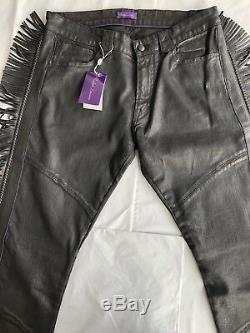 RALPH LAUREN PURPLE LABEL Leather FRINGE WESTERN Cowboy PANTS JEANS 32 X 32