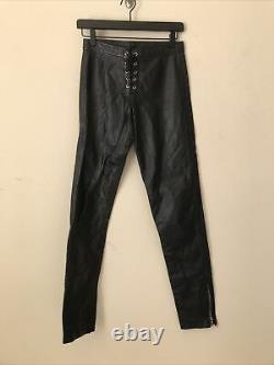 RARE VTG 80s 90s L. A. ROXX Black Leather Lace Up Mens Pants Zip Ankle Lined 28