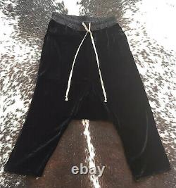 RICK OWENS Black Silk Velvet Harem Drop Crotch Drawstring Pants Joggers RUNWAY