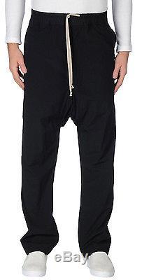 RICK OWENS Drop Crotch Drawstring Trousers 52 IT Reg $1,100 Sweatpants 36 NEW