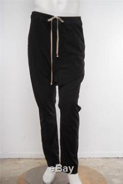 RICK OWENS Mens Black Drop-Crotch Drawstring Tapered Lightweight Casual Pants L