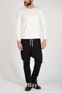 RICK OWENS New Man Black Stretch Cotton DRAWSTRING LONG Pants Trousers Sz 48 ita