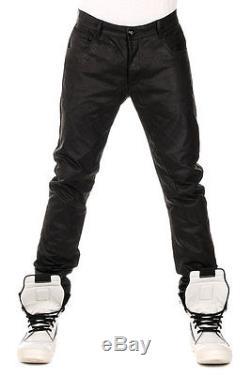 RICK OWENS New Men Black Leather DETROIT CUT Trouser Pants NWT