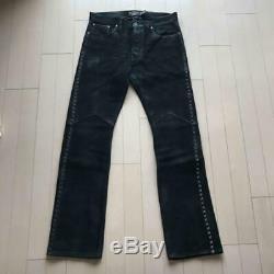 RRL side stitch cowboy leather pants Ralph Lauren 32/32 black 1800