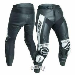 RST Tractech Evo R Leather Sports Motorcycle Motorbike Trousers Black / White