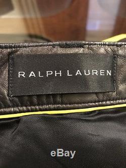 Ralph Lauren Black Label 100% Leather Moto Biker Mens Pants Size 32-34 BLACK New