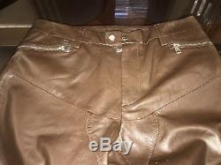 Ralph Lauren Black Label 100% Leather Moto Biker Mens Pants Size 32-34 Brown New
