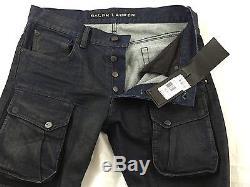 Ralph Lauren Black Label Courier Blue Denim Cargo Slim Fit Pants(W30x32) $ 495