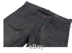 Ralph Lauren Black Label Distressed Leather Biker Jeans trousers Black 32 £895