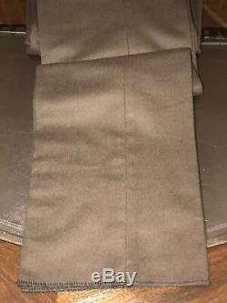 Ralph Lauren Black Label Pants Wool & Leather Sz 34 Flat Front Slim Fit Chestnut