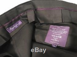 Ralph Lauren Purple Label Black Linen Made In Italy Striped Dress Pants Sz 36